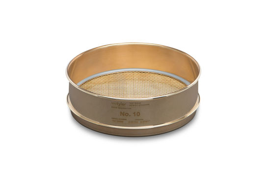 "Picture of WS Tyler 8"" Diameter Brass Frame/Brass Cloth Test Sieves - 4550"