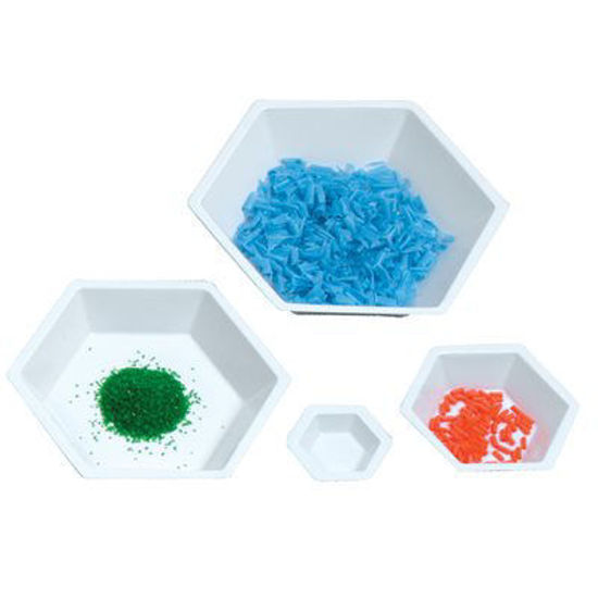 Picture of Hexagonal Antistatic Polystyrene Weighing Dishes - 3616