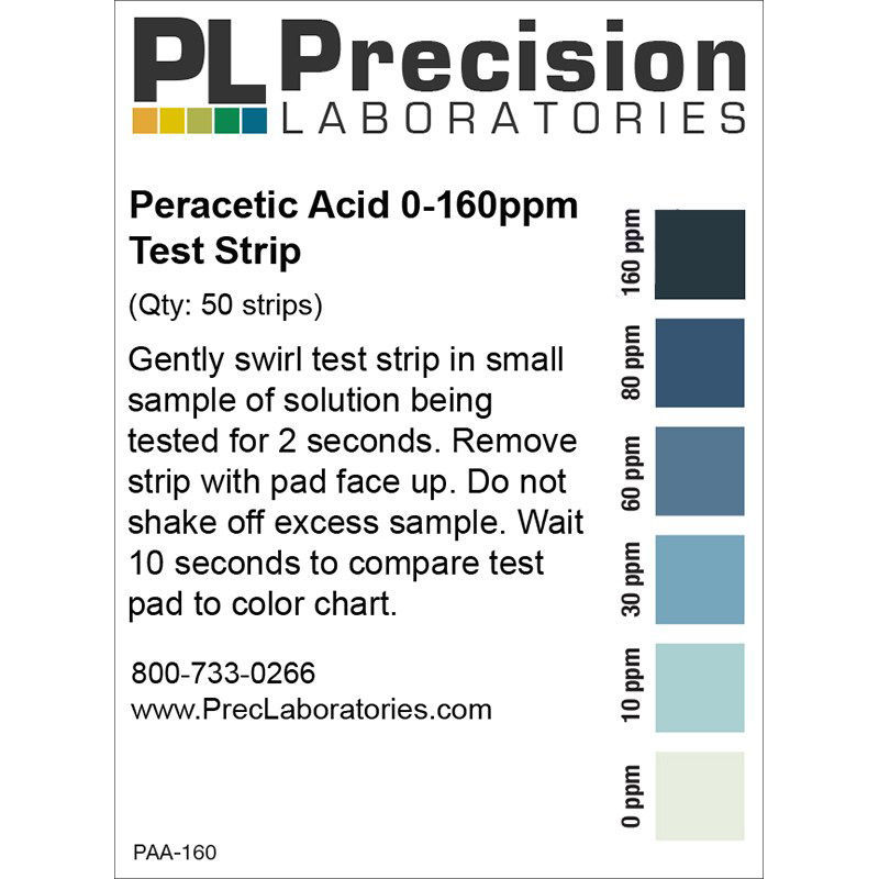 Picture of Precision Laboratories Peracetic Acid Test Strips - PAA-160
