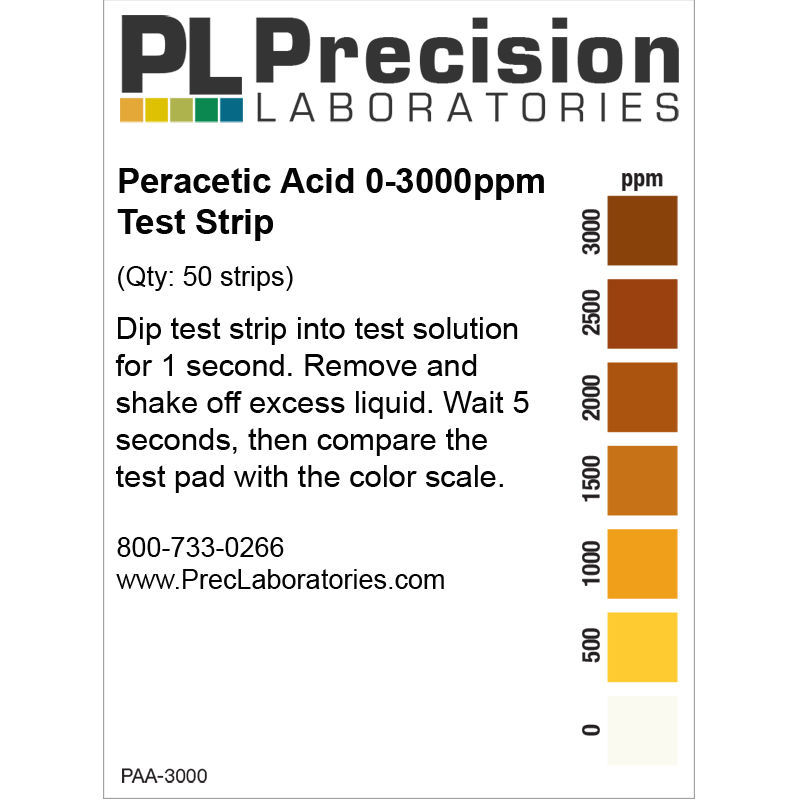 Picture of Precision Laboratories Peracetic Acid Test Strips - PAA-3000