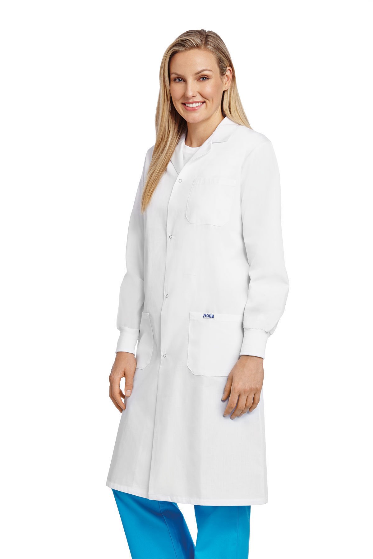 Picture of Full Length Unisex Snap Lab Coat With Knitted Cuffs - L507-XXS