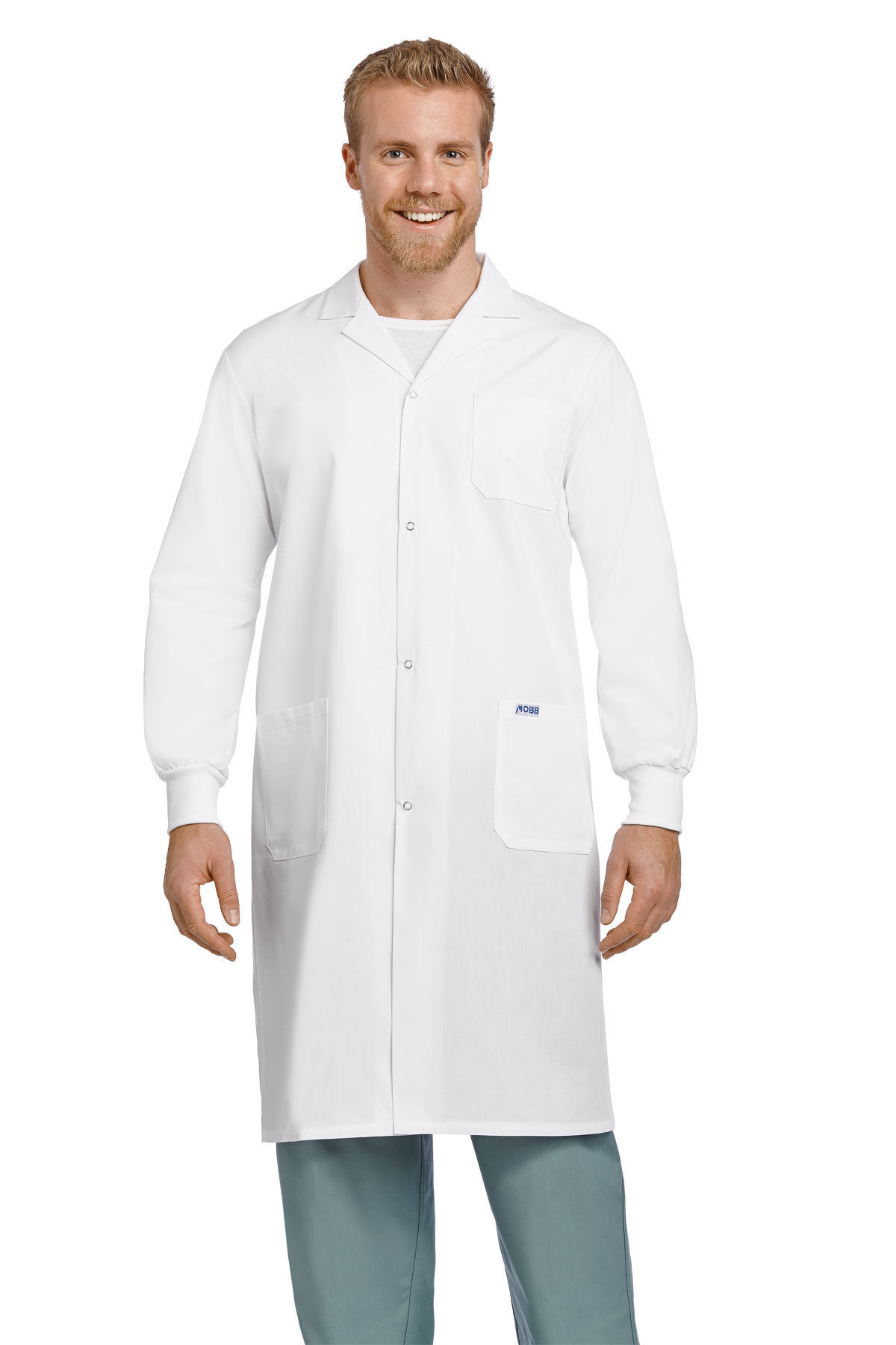 Picture of Full Length Unisex Snap Lab Coat With Knitted Cuffs - L507-M