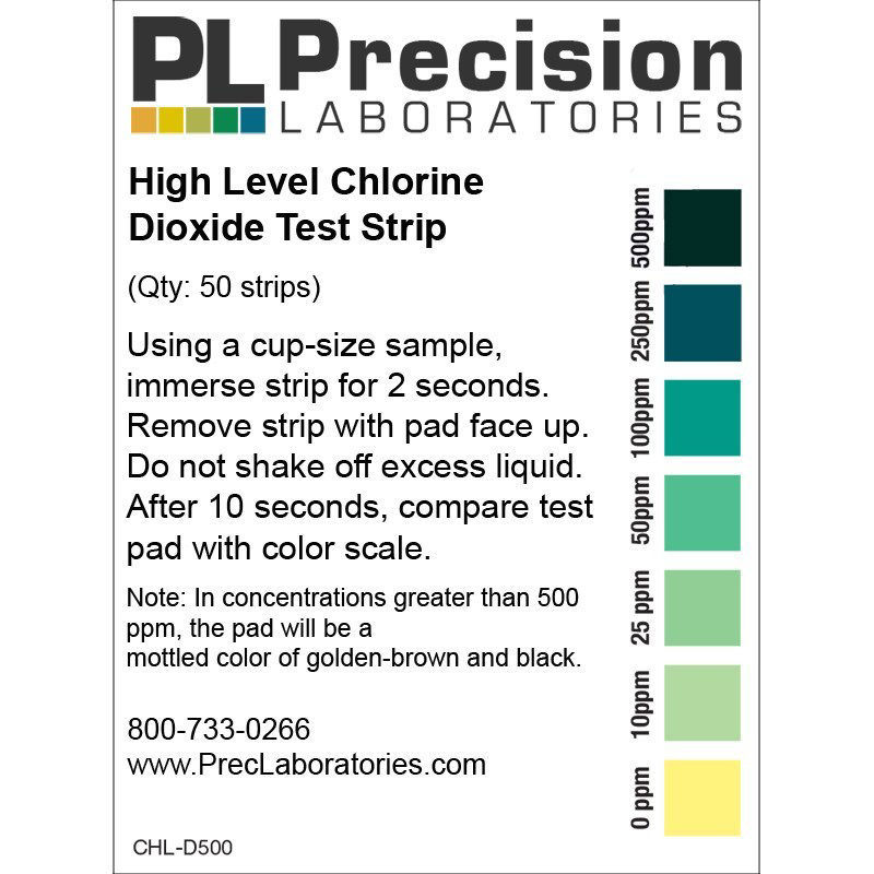 Picture of Precision Laboratories Chlorine Dioxide Test Strips - CHL-D500