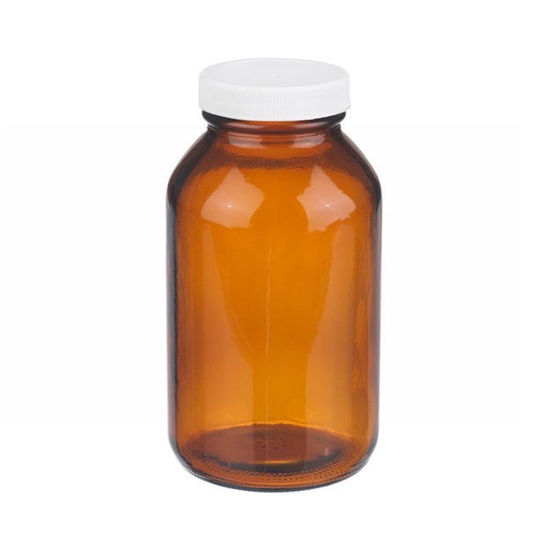 Picture of ProSource Scientific Wide Mouth Amber Glass Bottles - BWMA120